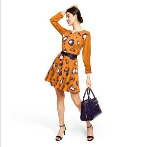 Leopard print long A-line mini skirt